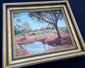 Vintage Oil Painting. Landscape Painting. Vintage Australian Oil Painting. Vintage Framed Art. Original Art. ROP0154
