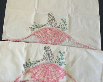 Vintage Crocheted and Embroidered Pillowcases