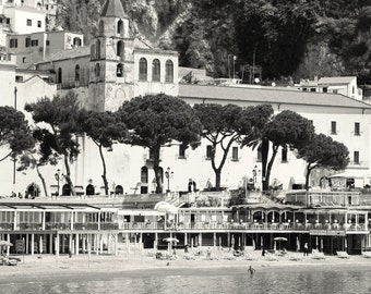 Amalfi Photography - Black and White Italy Photograph - Amalfi Coast Pictures - Italian Travel Photography - European Beach Photo - Wall Art