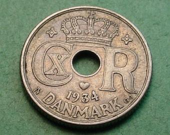 Denmark 10 ore 1934 Nice Details Free SH to US<> # ET3719