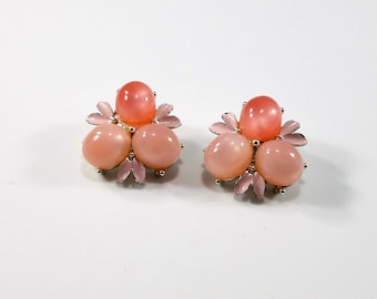 Vintage Pink Lucite Moonglow Clip Earrings on Silver Rhodium Plating with Light Pink Enamel - 1960s Lt & Dark Pink Moonglow Vintage Earrings
