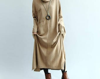 oversize Loose Maxi Dress/ khaki loose fitting dress/ Red wine loose fitting dress/ Long sweater dress