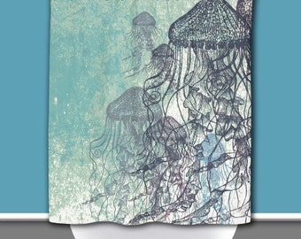 Shower Curtain and More - Jellyfish Nautical Sea life Water Inspired | See Dropdown for Pricing and Matching Decor Options