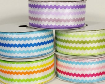 """1 1/2"""" Wired Colorful Ric Rac Print Ribbon - 10 Yards"""