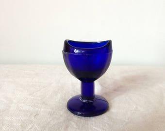 Antique Blue Glass Eye Bath - Vintage Eye Wash Glass - Blue Glass Collectible - Edwardian Bathroom Decor