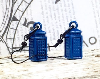 Dr Who , Earrings, Tardis Earrings ,Dr Who inspired Tardis blue and black earrings.