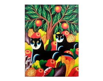 1960's Mid Century Abstract Cat and Fruit Painting