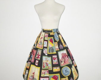 Vintage 1950s Novelty Print Skirt / 50s Novelty Print Skirt With Famous Artwork Paintings - Size S