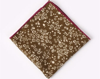 Chocolate Brown Floral Pocket Square  | cotton handkerchief |  gift for groom | mens handkerchief | mens pocket square | wedding accessories
