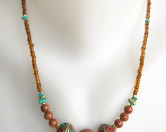 Sand stone necklace, Beaded necklace, Bras necklace