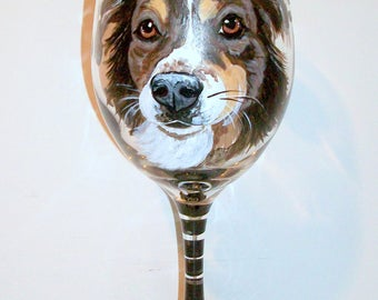 Custom Pet Portrait of Your Dog or Cat, Horse Any Pet Personalized Hand Painted Wine Glass 1 - 20 oz. Dog Lover Birthday Gift Dog Memorial