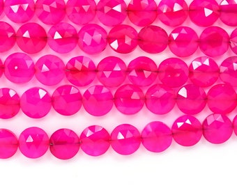 AAA High Polish 8 Inches 7mm Fuschia Pink Chalcedony Faceted Coin Shape Briolette Beads Strand-29 Beads(7mm 9261)