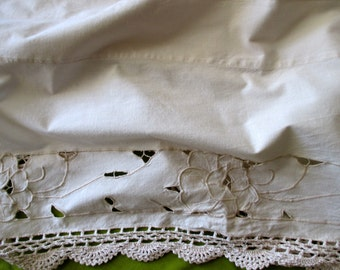 Shabby Chic beige cotton Valance- lace, crocheted