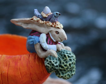 Bunny Lover Gift - Crazy Rabbit Figurine - Quirky Kooky Bunny Rabbit Rides Carrot - Life in an Alternate Universe - Live in Moment Vintage