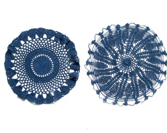 2 Denim blue hand dyed Crochet Vintage Doily