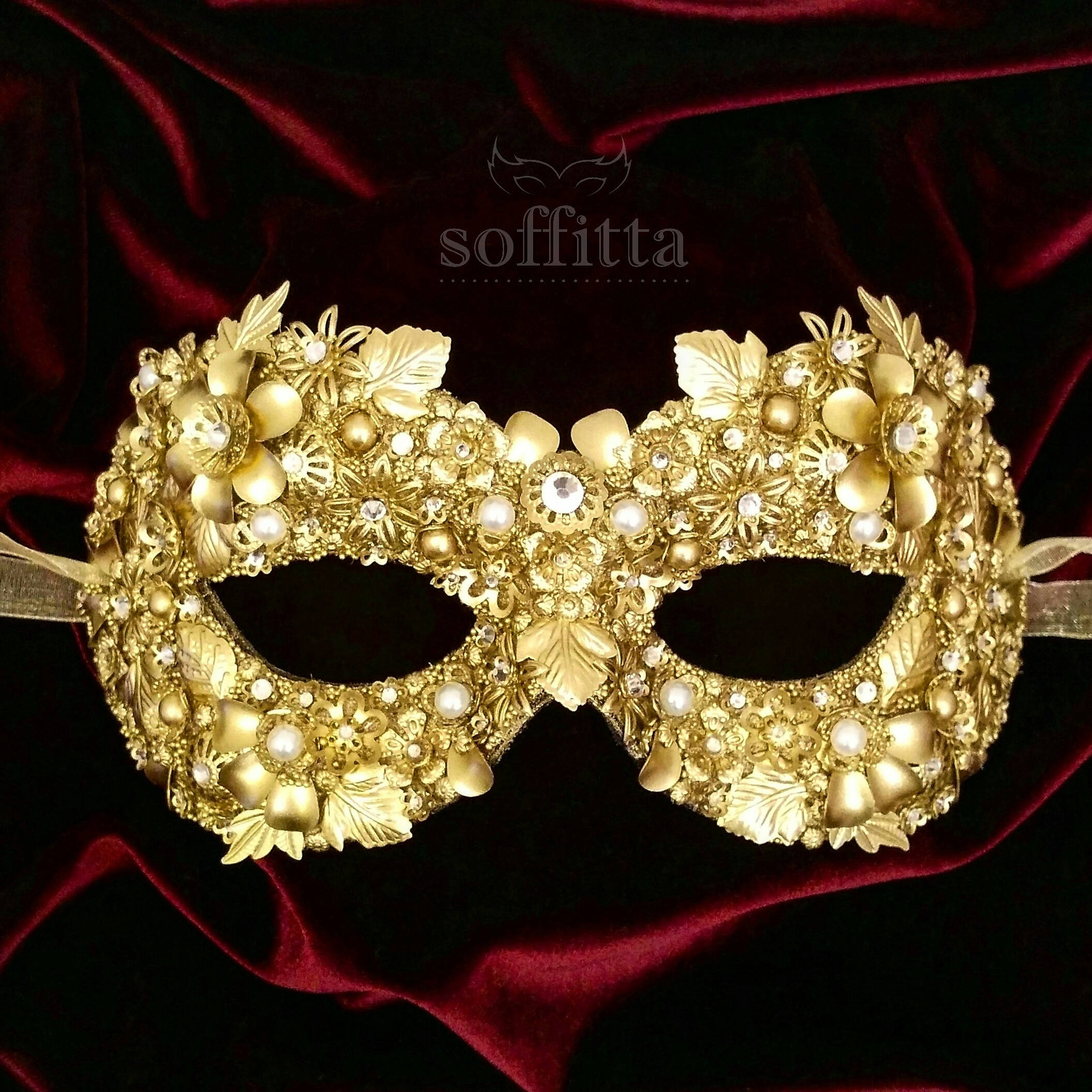 Gold Floral Masquerade Mask With Rhinestones Venetian Style