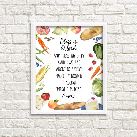 Grace Before Meals Bless Us O Lord Prayer 8x10 Printable Wall
