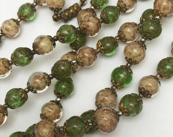 """Vintage Murano Aventurine Glass  Beaded Necklace  . Sommerso Glass Beads . 54""""L"""