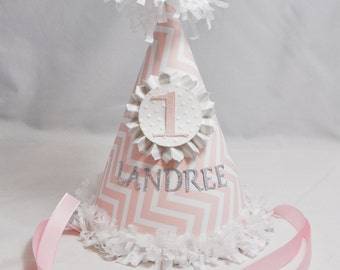 Chevron Party Hat, 1st Birthday Girl, Personalized Party Hat, Pink Chevron Hat, Pink and Grey, Chevron Birthday, 1st Birthday Hat