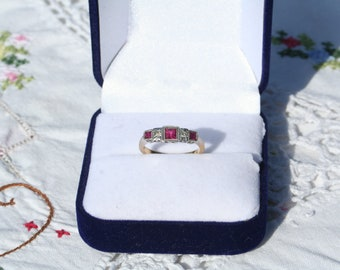 Art Deco Ruby and Diamond 18ct Gold and Platinum Ring
