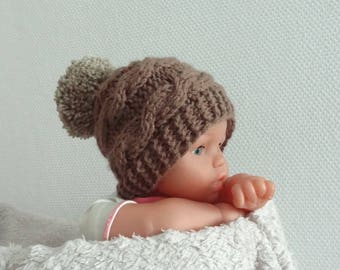 Knit Hat  Newborn Hat , pompom hat , Boys Outfit , Photo Prop hat , brown hat with pompom , Infant Hat ,Toddler Hat, baby outfit knit  cap