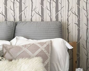 Tree Wall Stencil - Painting Forest Trees on Feature Wall in Bedroom or Nursery - Custom Wallpaper Mural Design