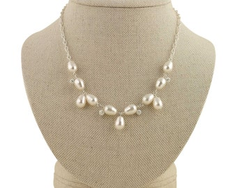Pearl Statement Necklace, Wedding Necklace, Pearl Bridal Necklace, Pearl & Crystal Statement Necklace