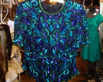 Vintage Teal, Purple and Green Beaded and Sequin Trophy Blouse * Medium