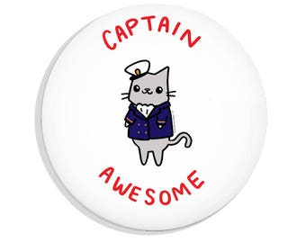 Cute Pinback Button Captain Awesome Cute Cat Magnet Captain Cat Pin Game Nautical Pin Badge Flair
