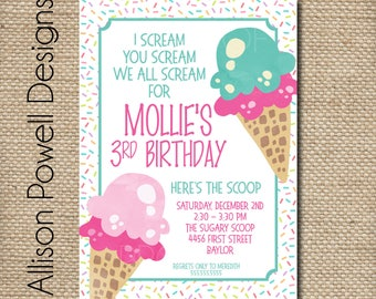 Ice Cream Birthday Party Invitation - Print your own