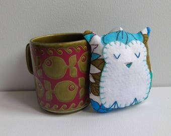 Owl lavender sachet handmade in turquoise and cobalt blue vintage fabric