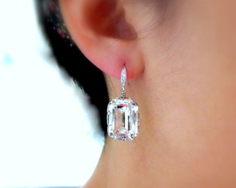 wedding jewelry wedding earrings bridal earrings Swarovski clear white vintage style rectangle square foiled crystal drop silver hook