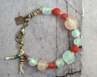 African trade bead bracelet for women, Chunky recycled glass jewelry, Red and turquoise bead gift for wife, Unique Mothers Day present