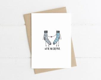 Funny Card // We're an odd pair // Sock card // Mismatched socks // Odd socks