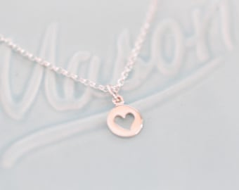 Sterling Silver Heart Charm Necklace  - Heart Charm - Charm Necklace - Gift For Her - Heart Jewelry - Heart Necklace - Little Girl Gift