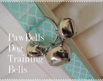 Light Aqua Quatrefoil Dog Training Bells, Paw Bells, Dog Potty Trainer,  Instructions included