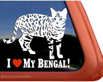 "I Love My Bengal! | DC395HEA | High Quality Adhesive Vinyl Window Decal Sticker - 5"" tall x 5.5"" wide"