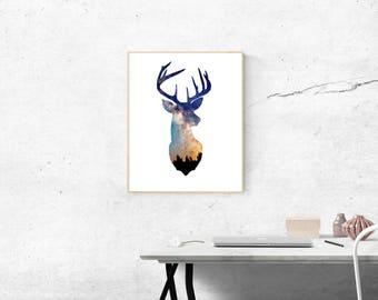 Deer Head Galaxy Digital Print