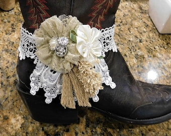 Boot Bracelet, Boot Jewelry, Boot Band, Beautiful lace and satin boot bracelet  - Great for Rustic Wedding or a special occasion