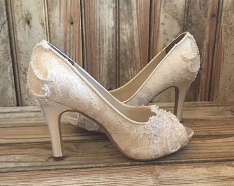White Lace Open Toe Platform Bridal Pump The Francesca Ivory Lace Peep Toe
