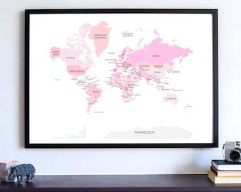 World Map Wall Art Print, Wanderlust Home Decor, World Map Poster, Canvas Large World Map, Cotton Candy Custom World Map, Travel Map