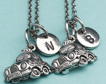 Best friend necklace, taxi necklace, automobile necklace, bff necklace, sister, friendship jewelry, personalized, initial, monogram
