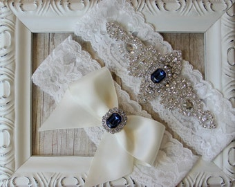 "Wedding Garter - Vintage Garter Set w/ ""Sapphires"" and Rhinestones on Comfortable Lace, Wedding Garter Set, wedding dress, prom, garters"