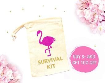 Flamingo Survival Kit Favor Bags - Hangover Survival Kit, Flamingo Bags, Hen Do Bags, Tropical Favors, Flamingo Bachelorette Party Favors