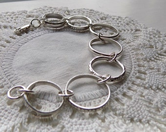ShyAnn ~ Bracelet made from Vintage Sterling Silver Wedding Ring Bands ~ Unusual Jewelry