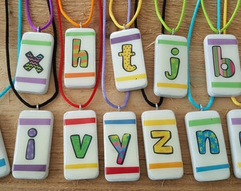Alphabet Letter Domino Necklace