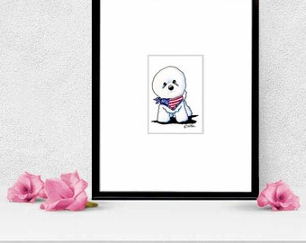 Framed ORIGINAL Bichon Frise KiniArt Dog Art ACEO