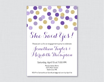 "Purple and Gold Engagement Party Invitation Printable or Printed - Purple and Gold Glitter Dots Invites ""She Said Yes!"" Glitter Party 0001-R"