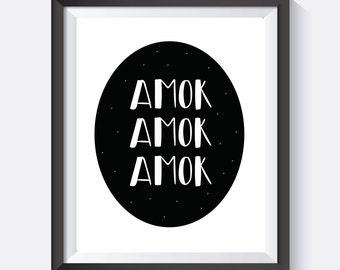 Hocus Pocus, Amok Amok, Amuck, Sanderson Sisters, Movie Quote Art, Movie Print, Halloween Movies, Hocus Pocus Print, Digital Print Wall Art