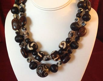 Nature Calls: 2 Strand Necklace of carved stone, bone and seeds